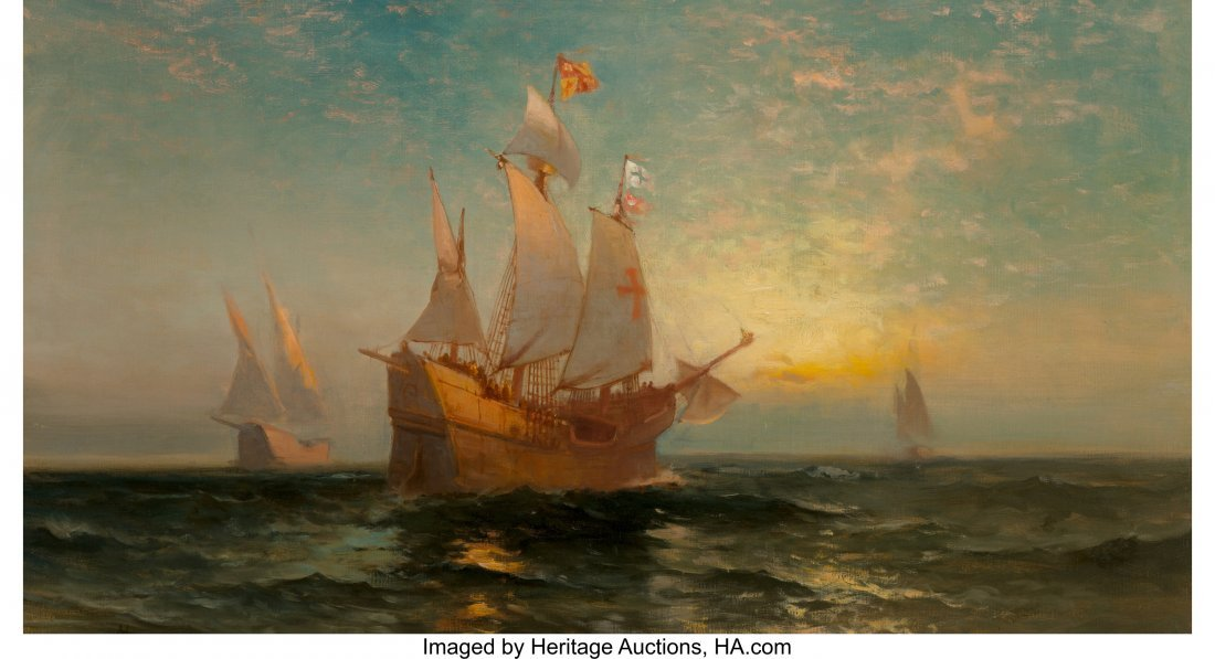 69092: Edward Moran (American, 1829-1901) Galleon at Su