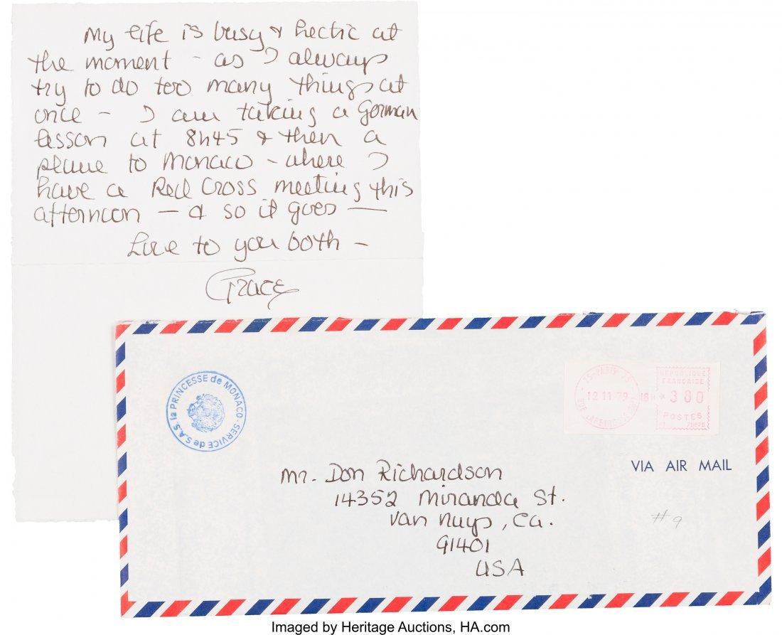 89074: A Grace Kelly Handwritten Letter, 1979. One page