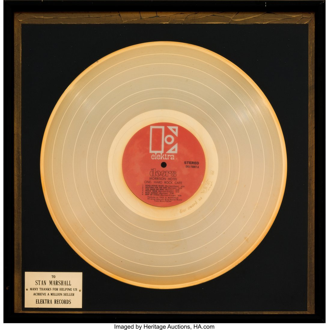 89505: Doors Morrison Hotel In-House Gold Record Sales