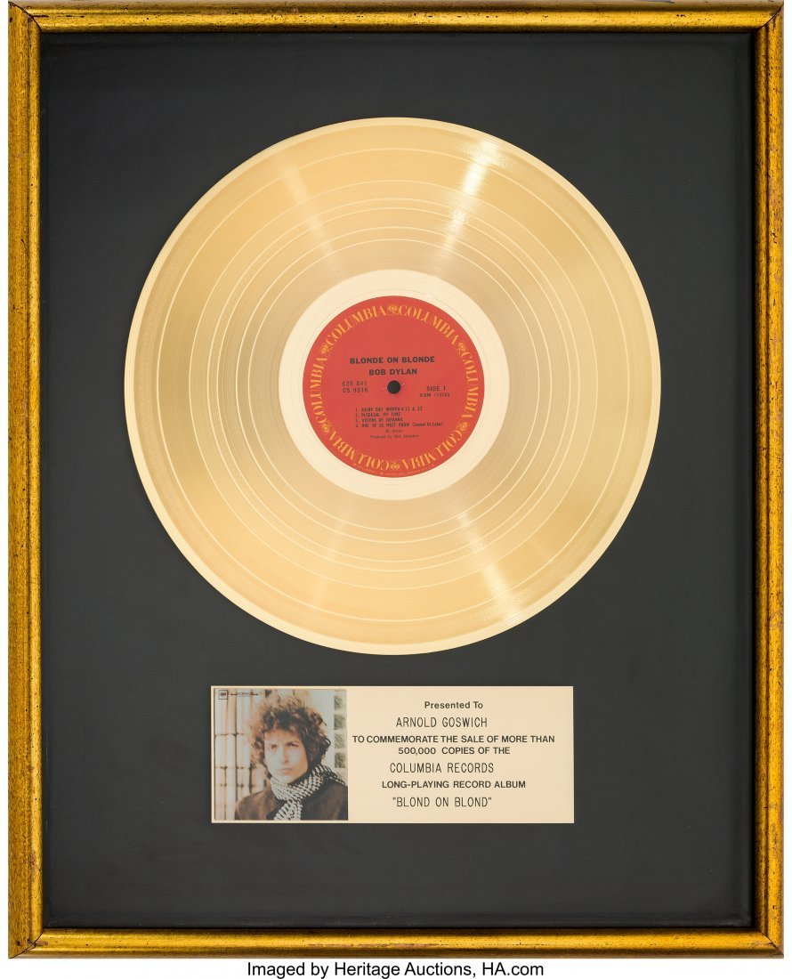 89511: Bob Dylan Blonde on Blonde RIAA Gold Record Sale