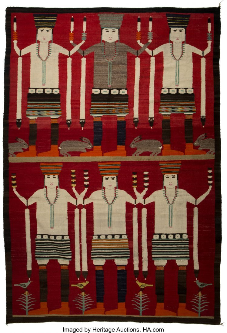 70078: A Large Navajo Pictorial Rug c. 1930  native han