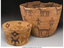70390: Two Papago Pictorial Coiled Baskets Provenance: