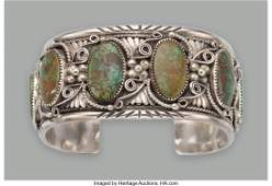 70352: A Large Navajo Bracelet silver, turquoise, sta