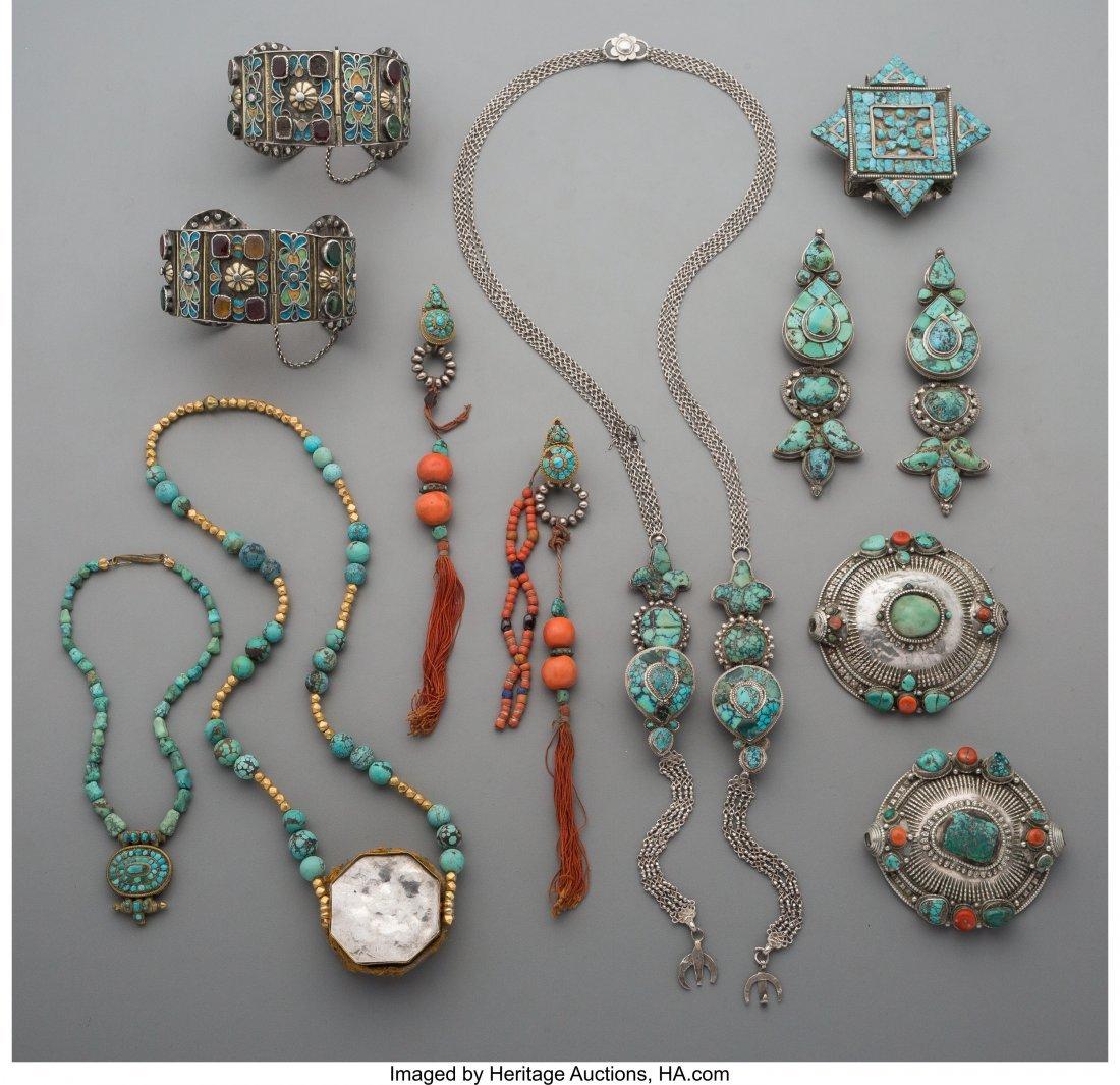 70527: Twelve Tibetan 18K Gold, Turquoise, Coral,