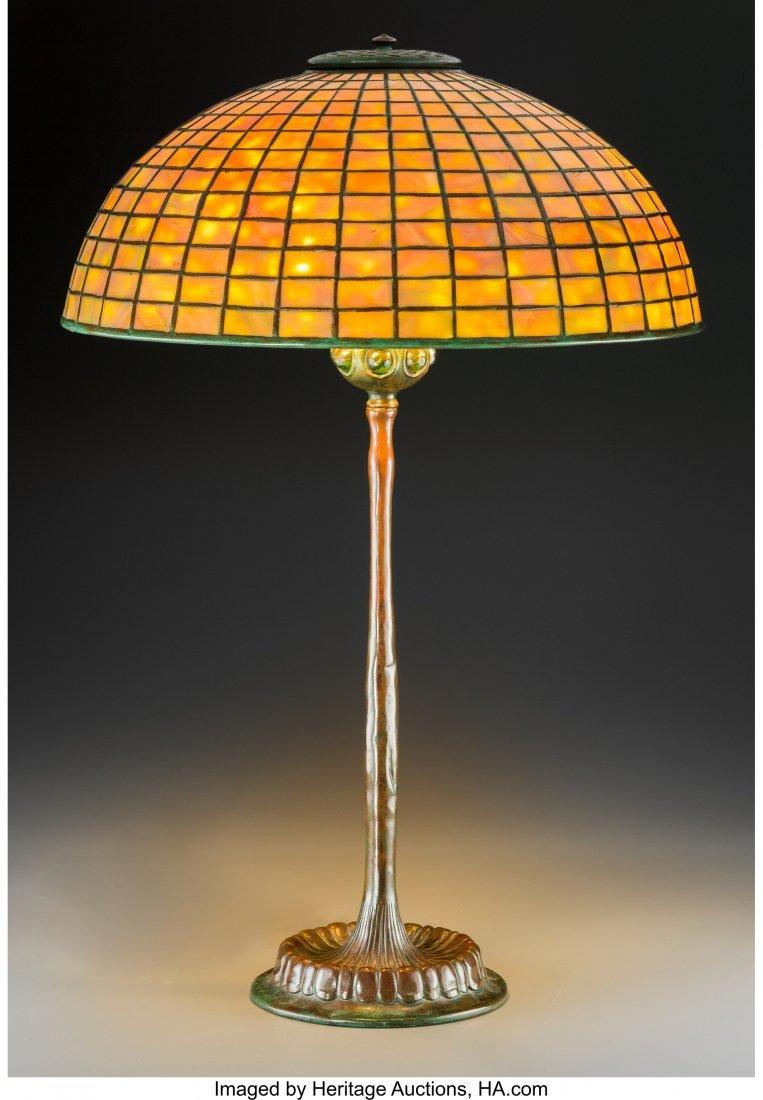 79001: Tiffany Studios Favrile Glass and Bronze Geometr