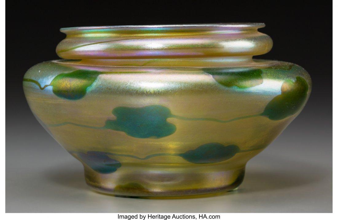79002: Tiffany Studios Gold Favrile Glass Foliate Low V
