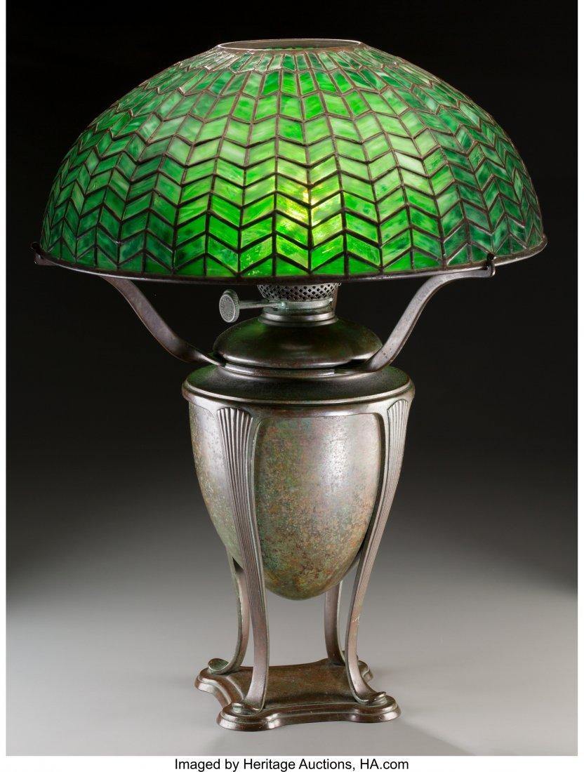 79006: Tiffany Studios Green Favrile Glass and Bronze H