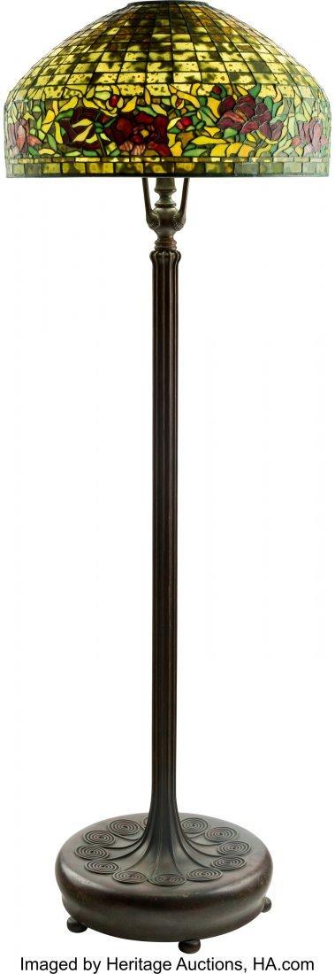 79008: Tiffany Studios Style Leaded Glass Peony Border