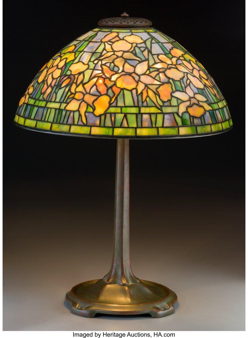 79009: Tiffany Studios Favrile Glass and Bronze Daffodi