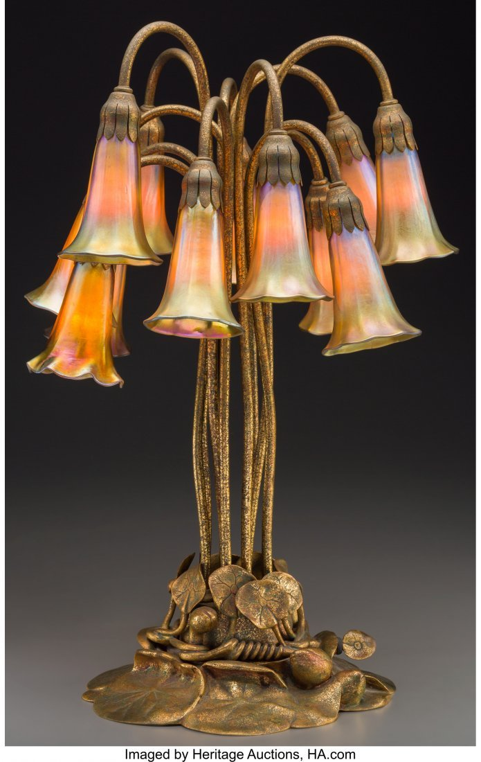 79010: Tiffany Studios Gilt Bronze and Favrile Glass Tw