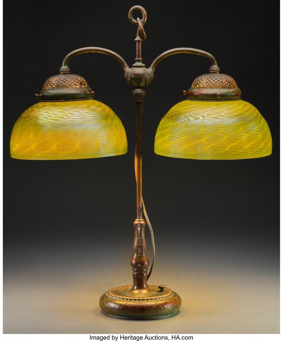 79013: Tiffany Studios Damascene Favrile Glass and Bron