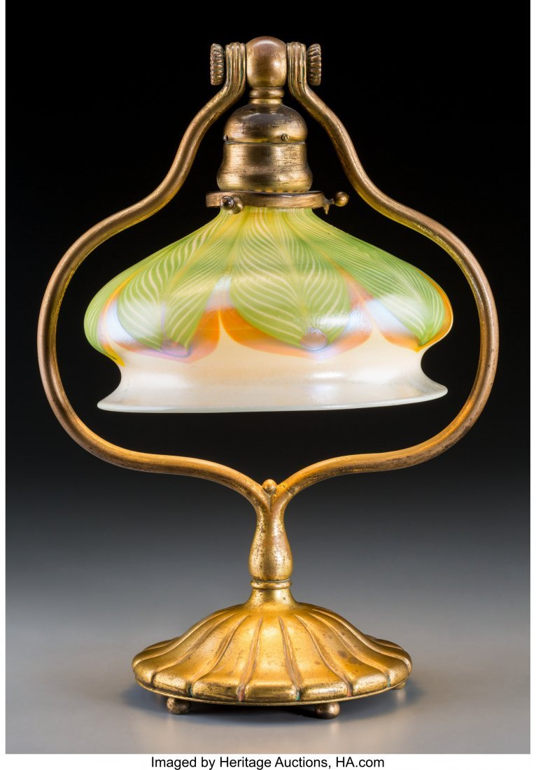 79015: Tiffany Studios Gilt Bronze Table Lamp with Feat