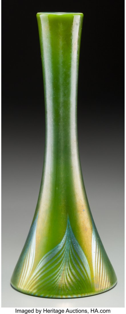 79016: Tiffany Studios Feather-Pull Green Favrile Glass