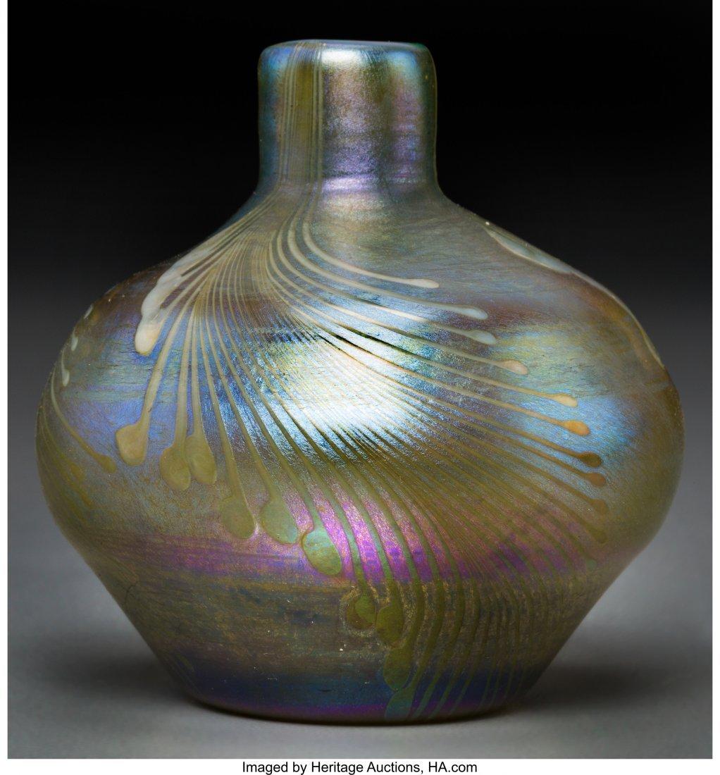 79019: Tiffany Studios-Style Decorated Favrile Glass Ca