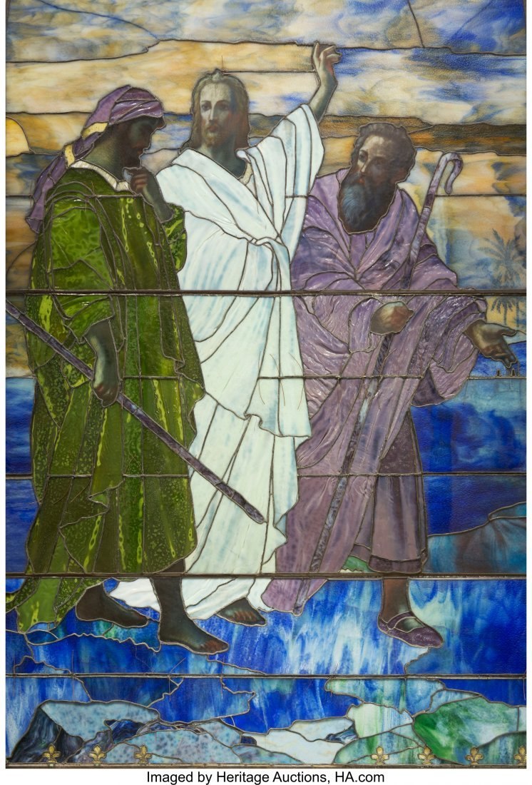 79022: Tiffany Studios Leaded Favrile Glass Window: Chr