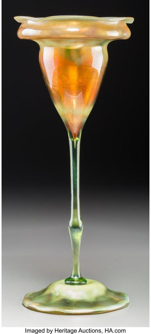 79024: Tiffany Studios Favrile Glass Floriform Vase Cir