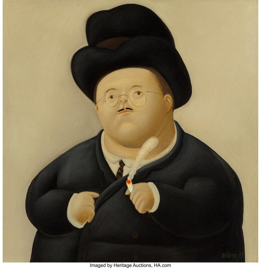 69026: Fernando Botero (b. 1932) Un Abogado, 1967 Oil o