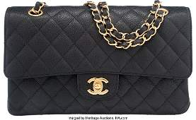 58007: Chanel Black Quilted Caviar Leather Medium Doubl