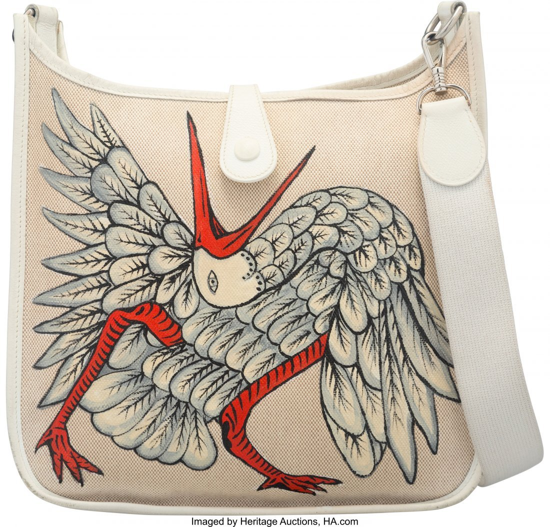 58125: Hermes Customized White Epsom Leather & Toile Ca