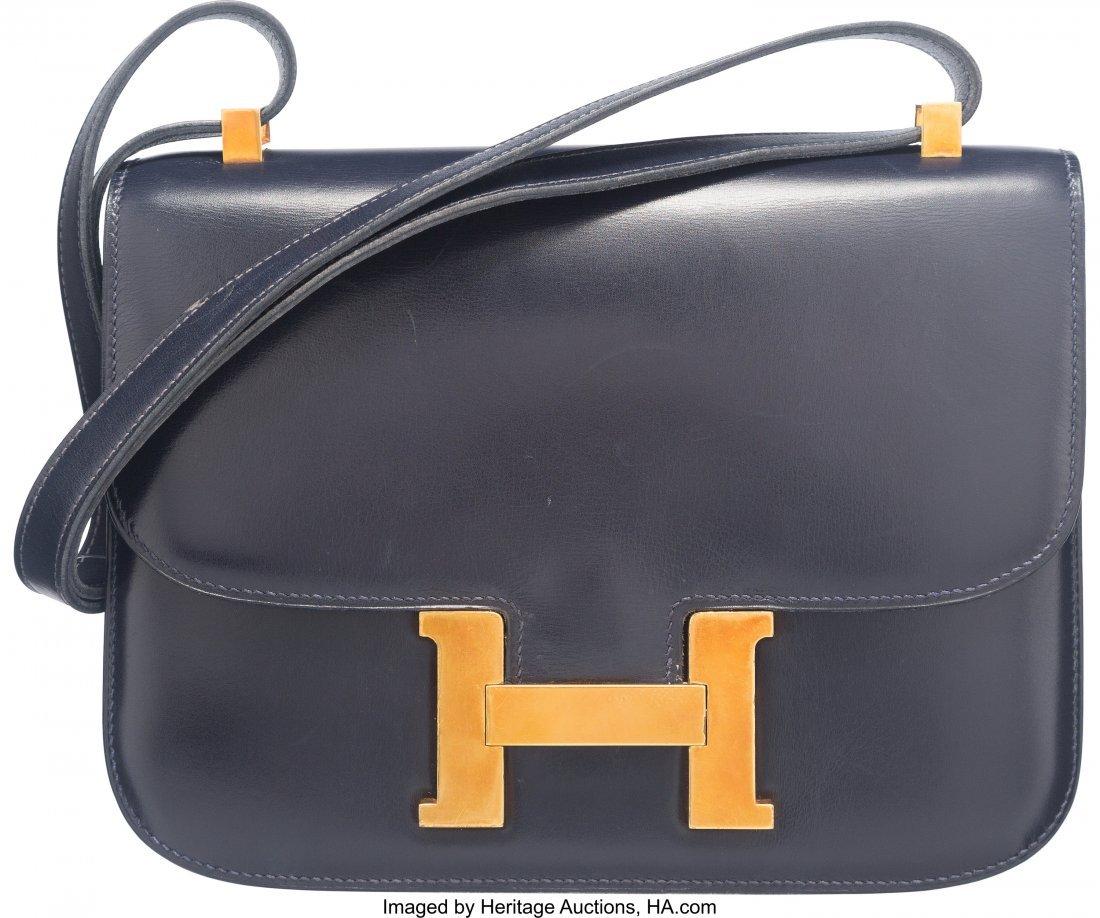 58183: Hermes 23cm Blue Marine Calf Box Leather Constan