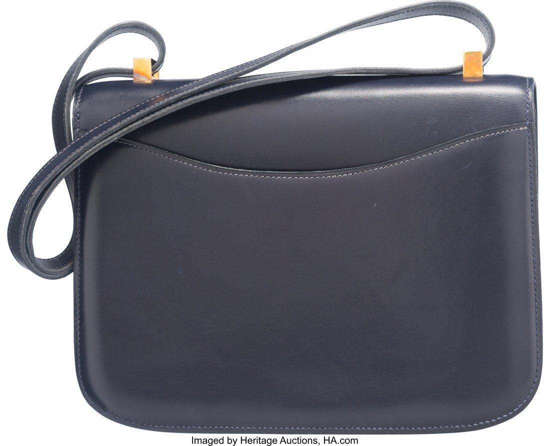 58183: Hermes 23cm Blue Marine Calf Box Leather Constan - 2