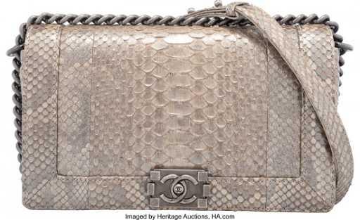 3ffaae7cb38508 58015: Chanel Metallic Silver Python Medium Boy Bag Con. placeholder. See  Sold Price