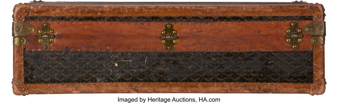 58031: Goyard Black Goyardine Canvas Trunk Condition: 4 - 3