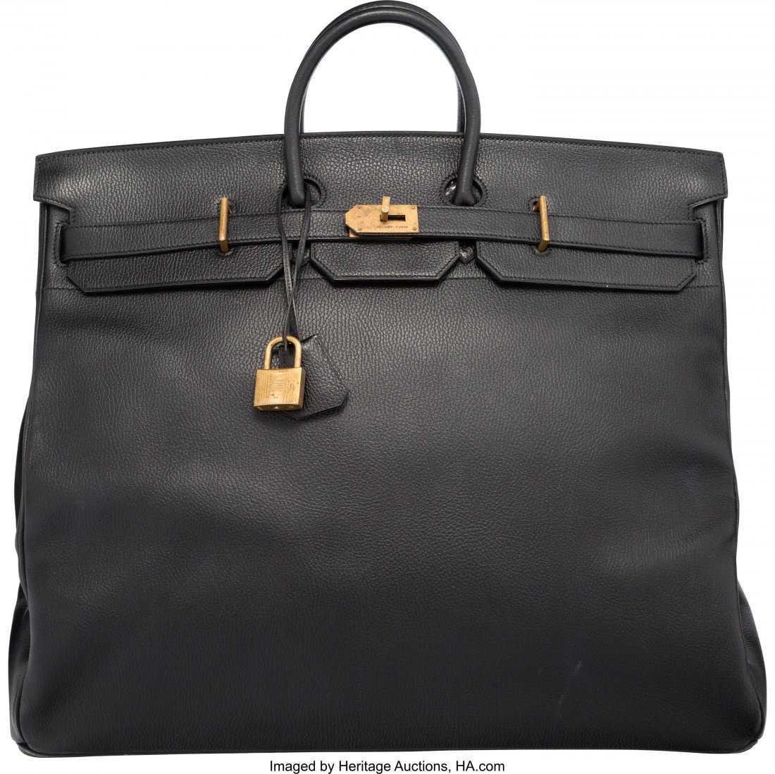 9e2298df613 58198  Hermes 55cm Black Ardennes Leather HAC Birkin Ba