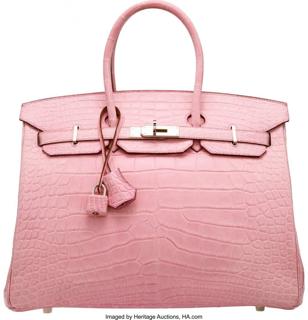 58088: Hermes 35cm Matte 5P Bubblegum Pink Alligator Bi