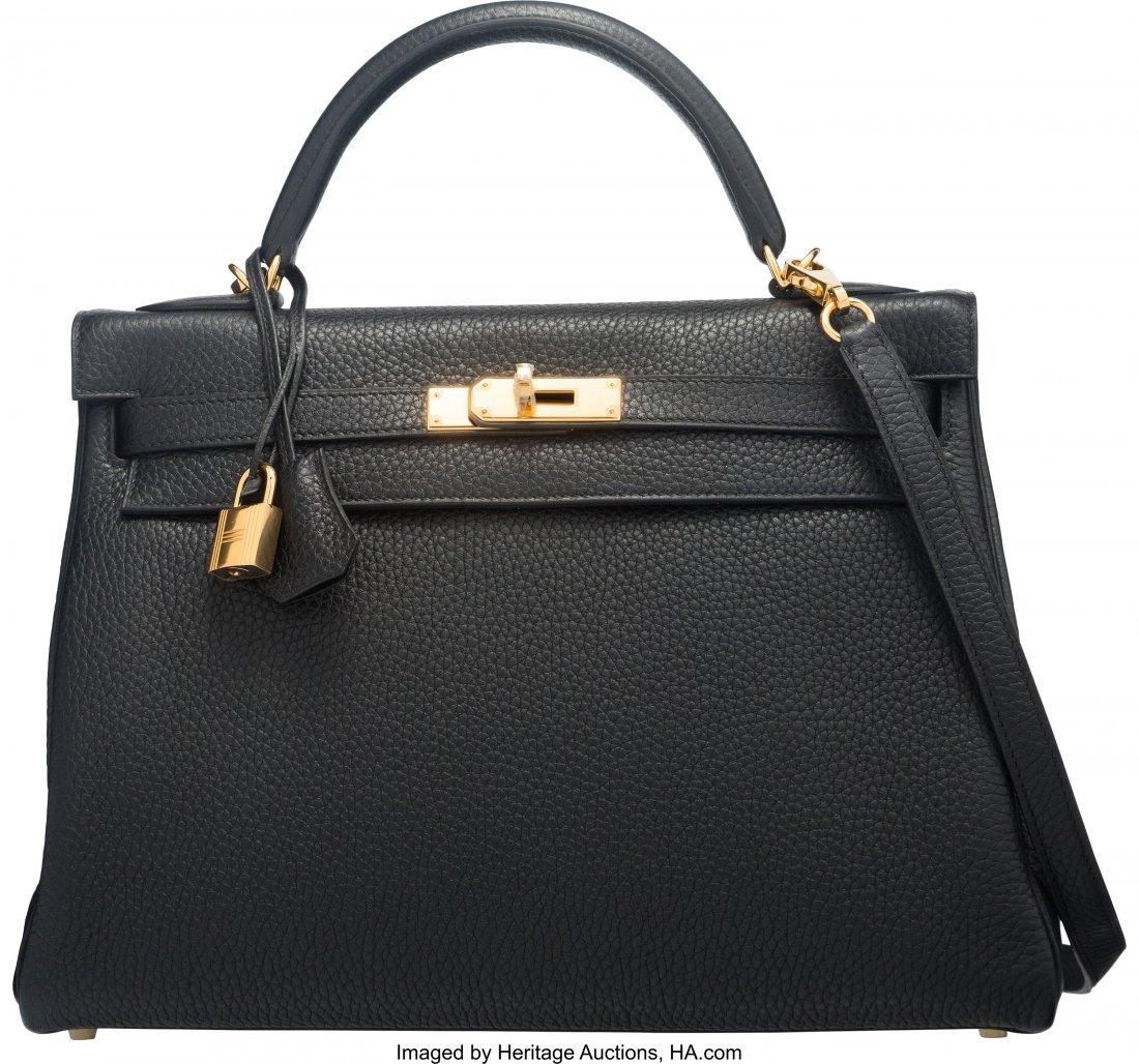 58206: Hermes 32cm Black Clemence Leather Retourne Kell