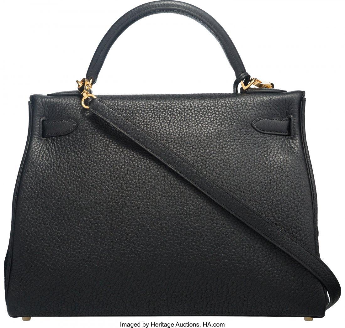 58206: Hermes 32cm Black Clemence Leather Retourne Kell - 2