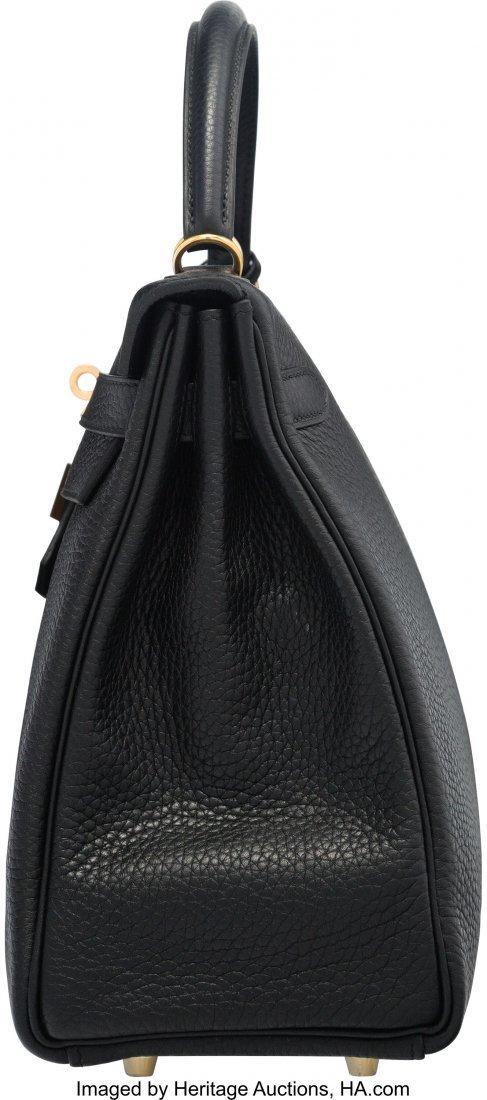 58206: Hermes 32cm Black Clemence Leather Retourne Kell - 3