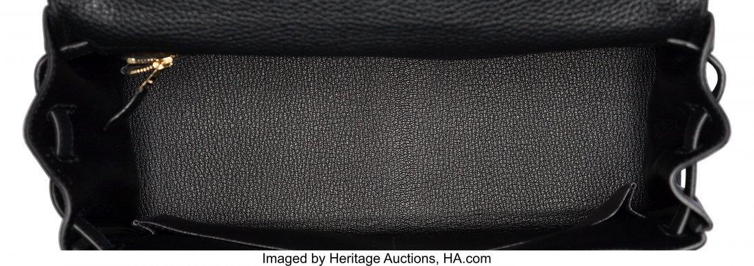 58206: Hermes 32cm Black Clemence Leather Retourne Kell - 5