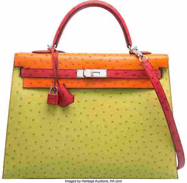 58156: Hermes Special Order 35cm Vert Anis, Tangerine &