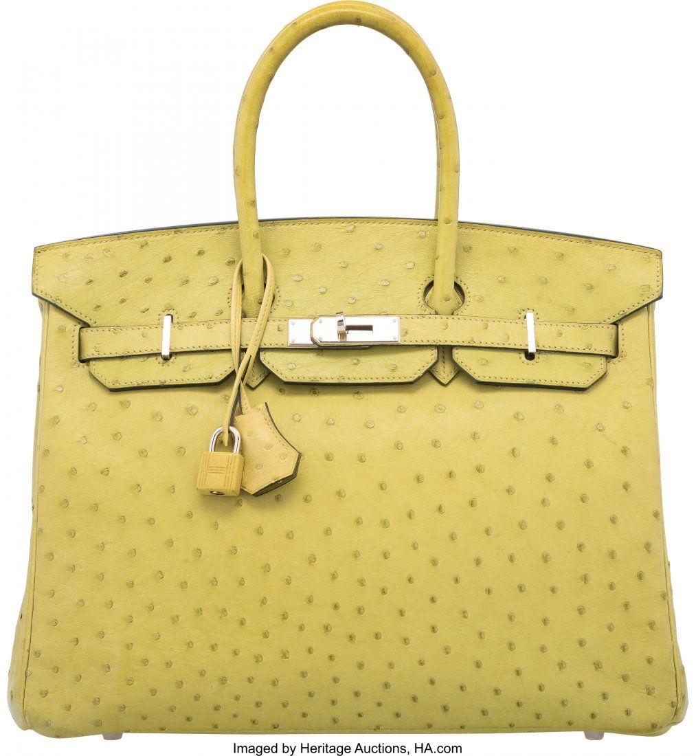 58157 Hermes 35cm Vert Anis Ostrich Birkin Bag with Pa