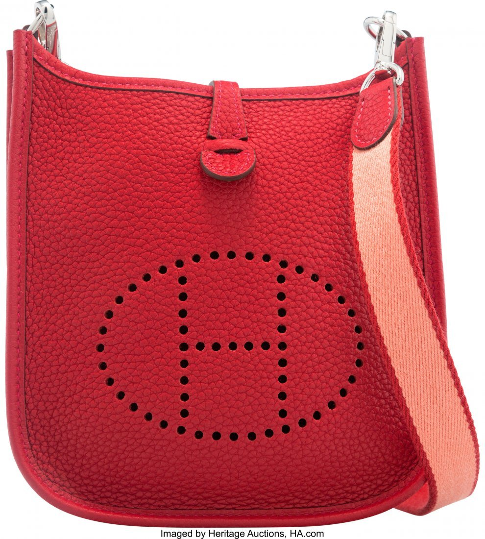 58045: Hermes Rouge Vif Clemence Leather Evelyne TPM Ba