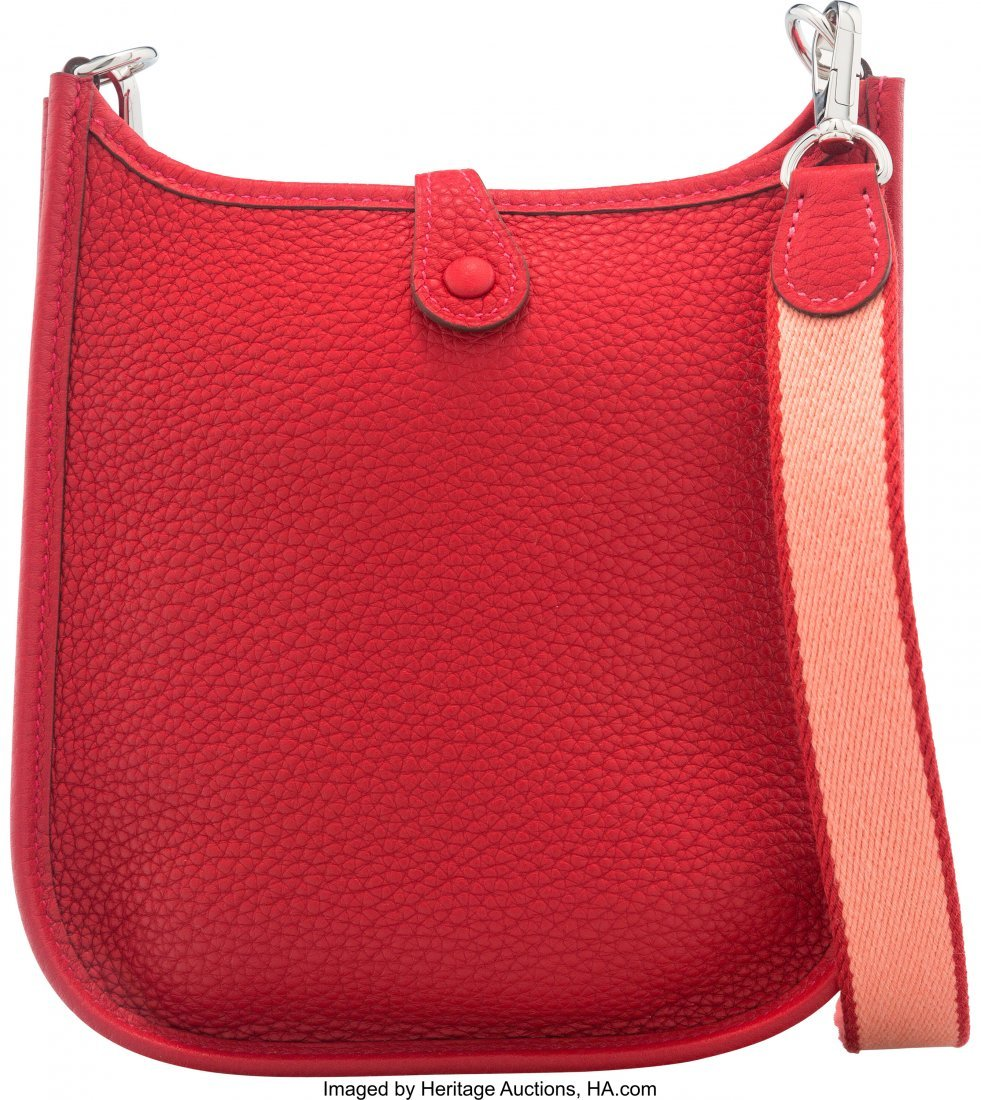 58045: Hermes Rouge Vif Clemence Leather Evelyne TPM Ba - 2