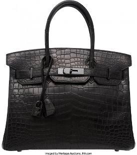58109: Hermes Limited Edition 30cm Matte So Black Nilo