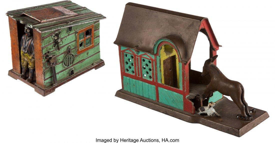 43198: Mechanical Bank: Cabin & Mule Entering Barn. Thi