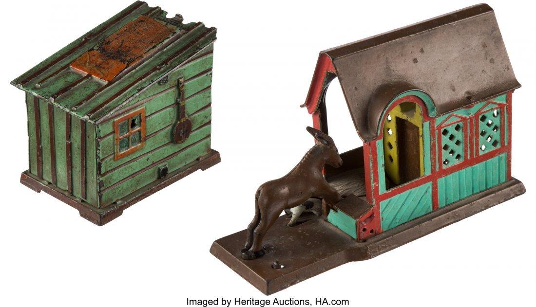 43198: Mechanical Bank: Cabin & Mule Entering Barn. Thi - 3