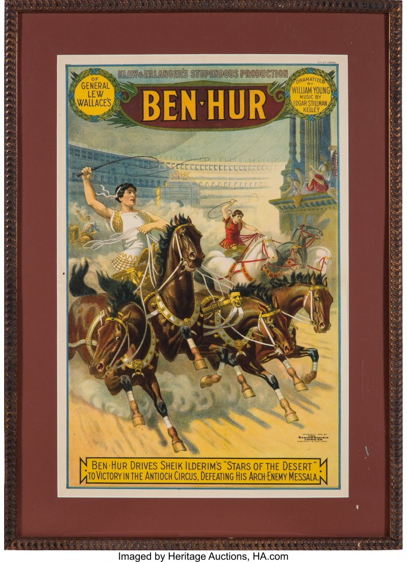 "43214: Ben Hur: Circa 1912 Theatrical Poster. 18"" x 27."