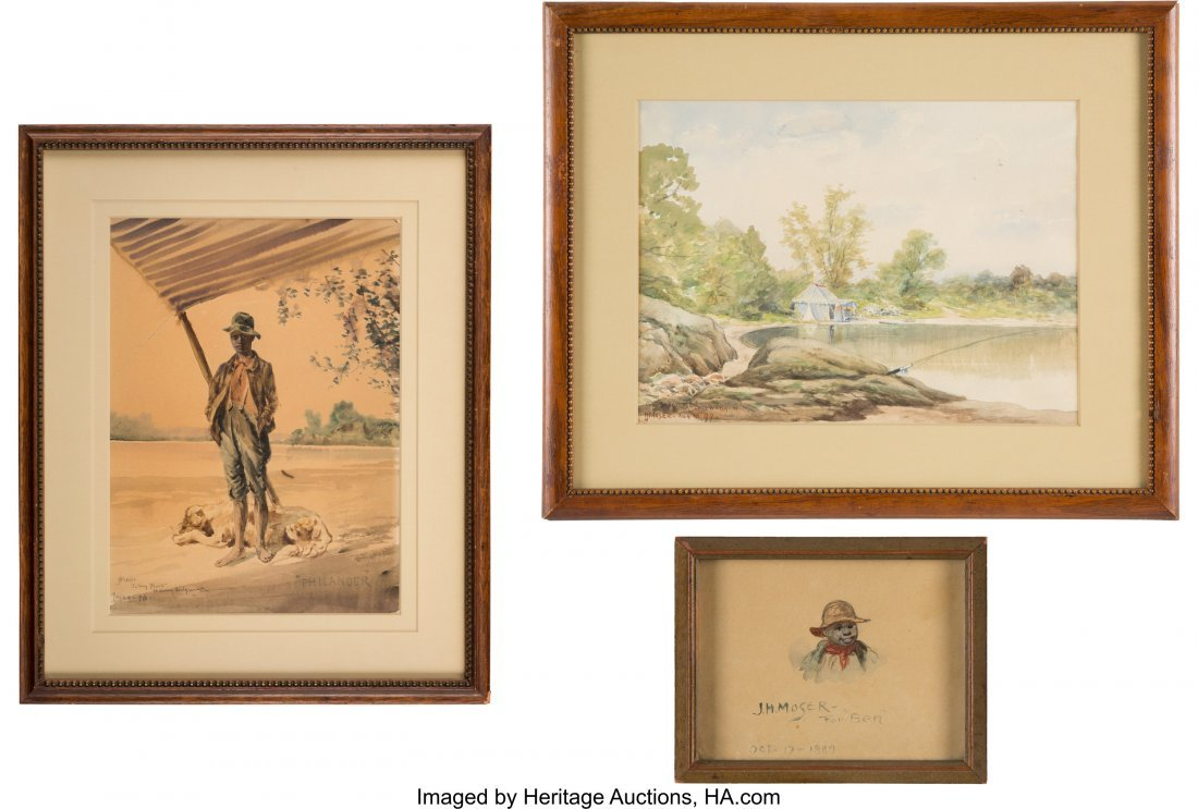 43186: James Henry Moser: Genre Watercolors. Group of t
