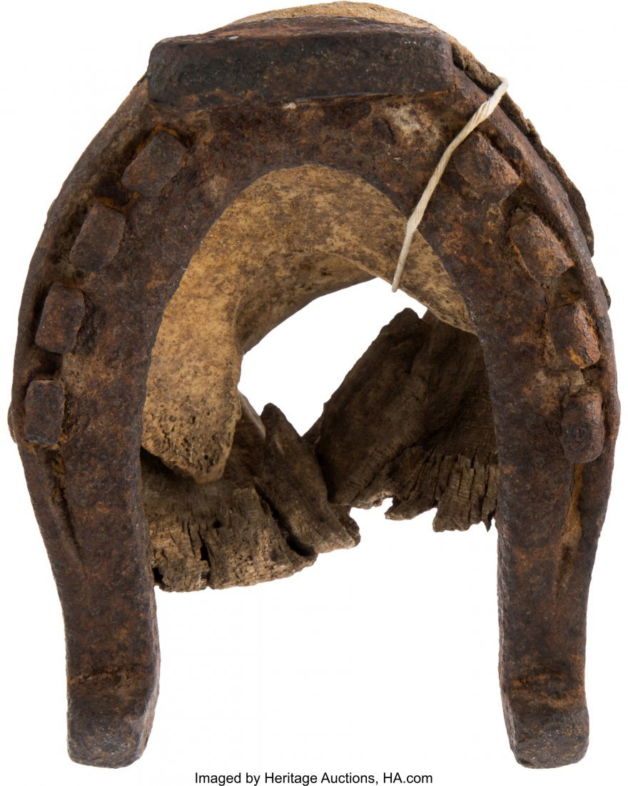 43257: US 7th Cavalry Mule Hoof and Iron Shoe with Old  - 2