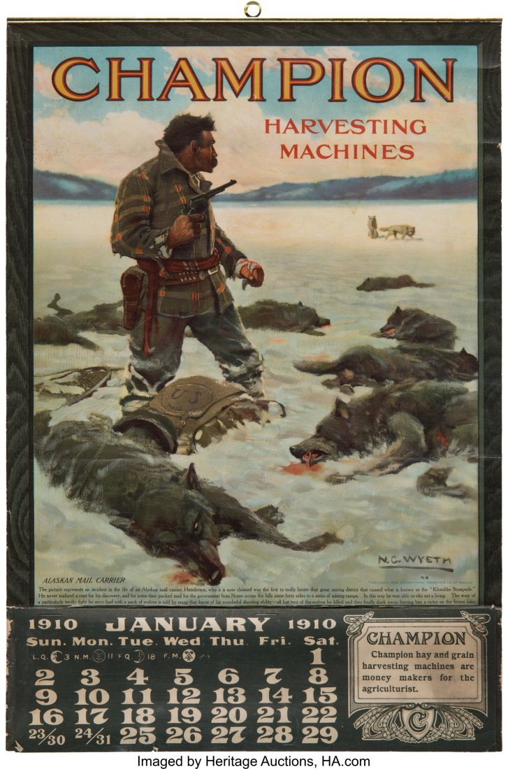 43282: N. C. Wyeth: Graphic Advertising Calendar with W