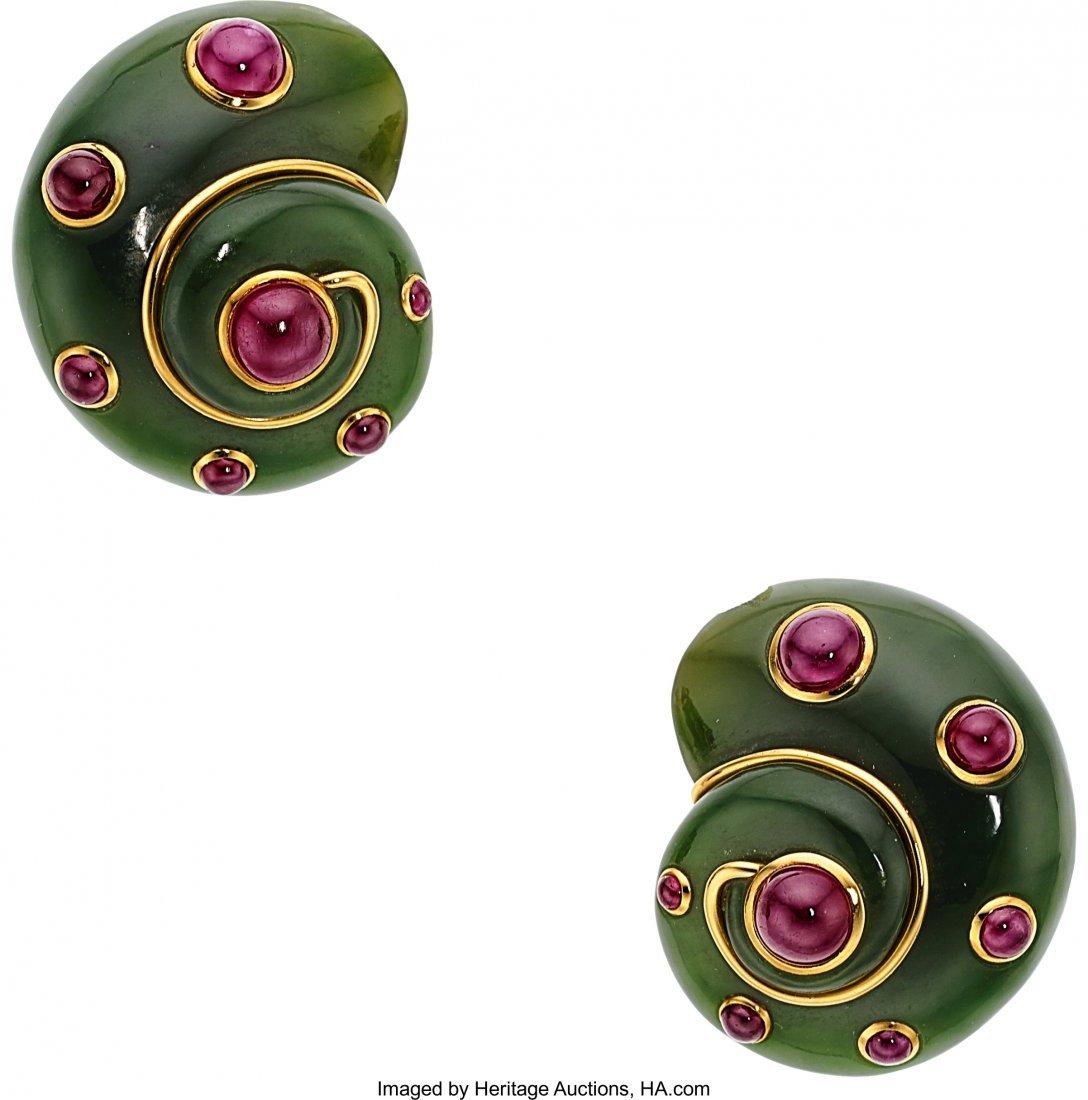 55189: Ruby, Nephrite Jade, Gold Earrings, Verdura  The