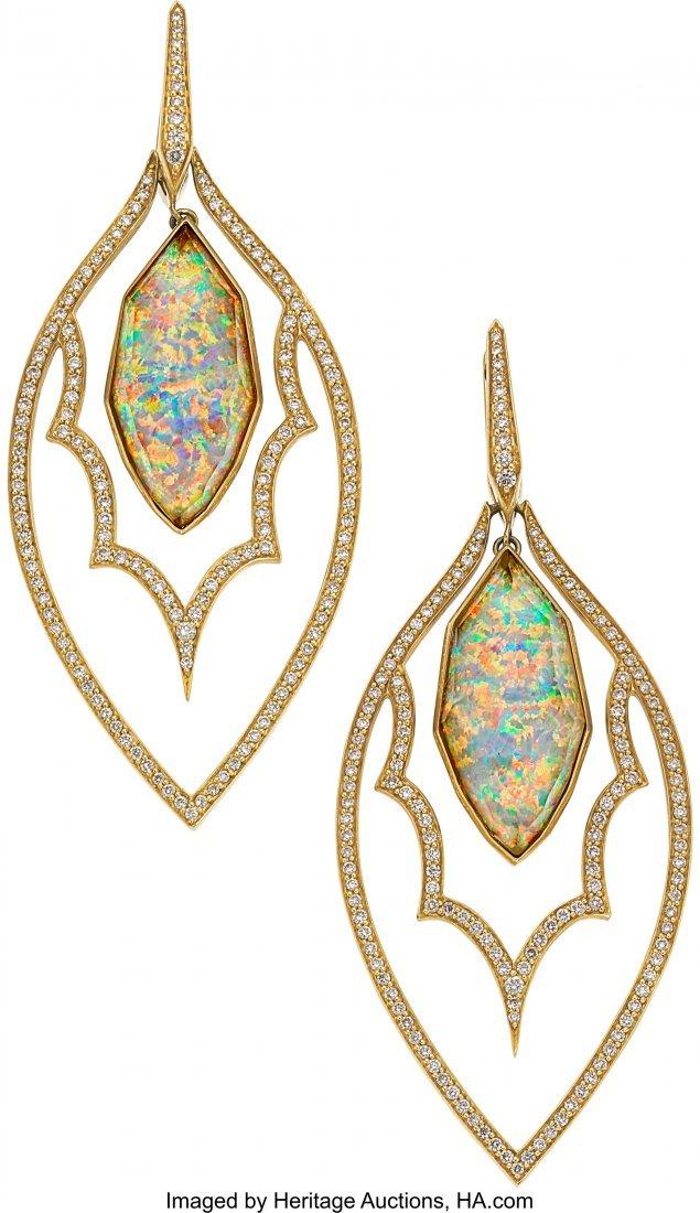 55012: Quartz, Opal, Diamond, Gold Earrings, Stephen We