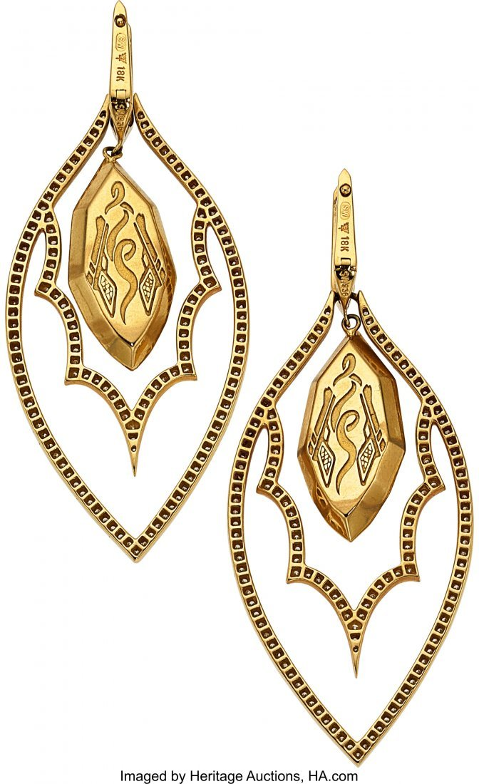 55012: Quartz, Opal, Diamond, Gold Earrings, Stephen We - 3
