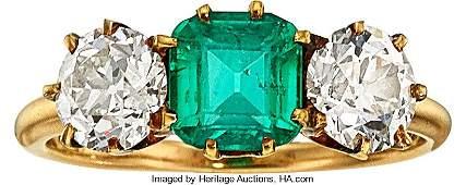 55112 Antique Emerald Diamond Gold Ring Bailey Ban