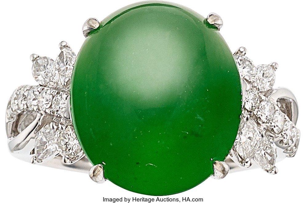 55206: Jadeite Jade, Diamond, White Gold Ring  The ring