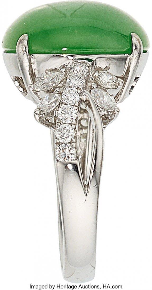 55206: Jadeite Jade, Diamond, White Gold Ring  The ring - 2